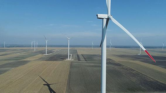 Cibuk wind farm in Serbia
