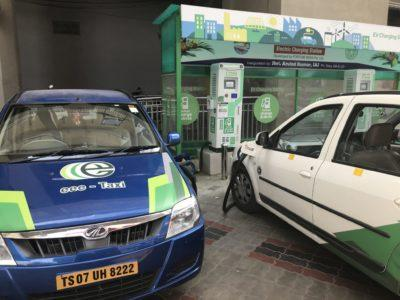 Two e-vehicles charging batteries